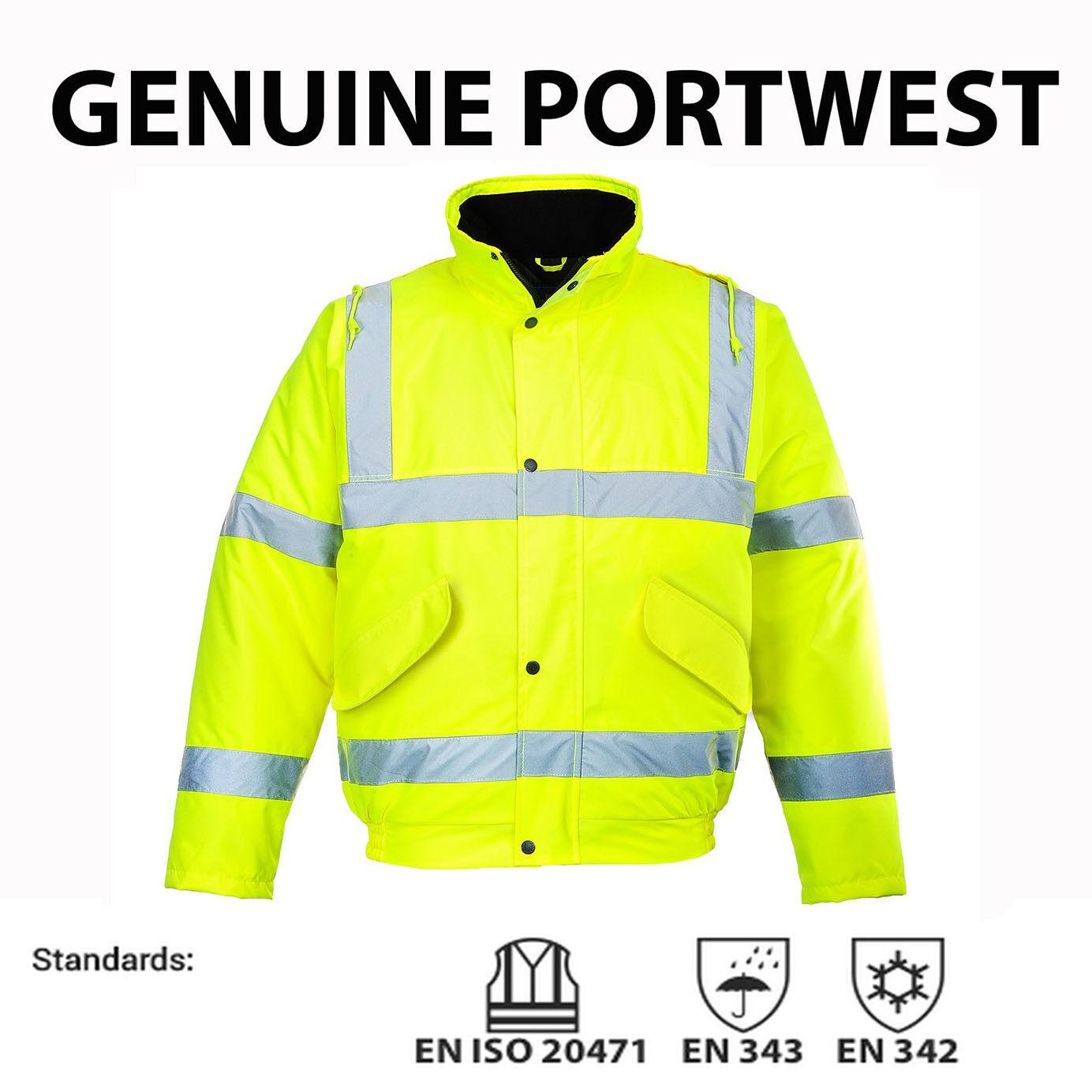 S463 Mens Portwest Hi Vis Visibility Bomber Jacket Coat