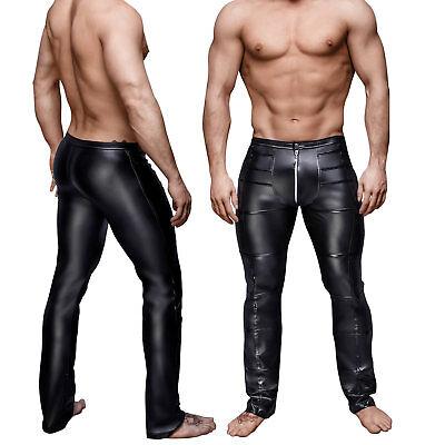 Men Sexy Faux Leather Pleather Rocker Skinny Jeans Pants Black Trouser Slim Punk (Faux Leather Pants For Men)
