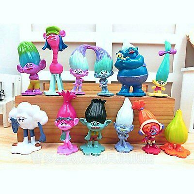 Cake Figurines Kids (DreamWorks Trolls Toys | 12 pcs Mini Figures Playset | Cake Topper)