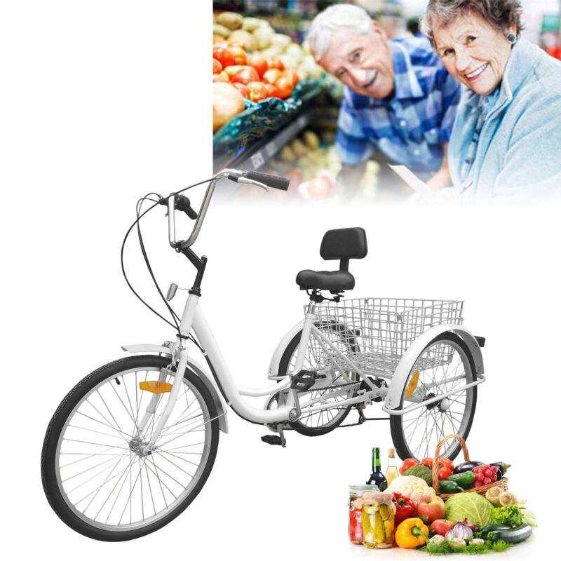 "Adult 3-Wheel 7-Speed Tricycle 24"" w/ Large Basket Bicycle B"