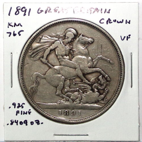 1891 Great Britain One Crown Silver Coin KM765