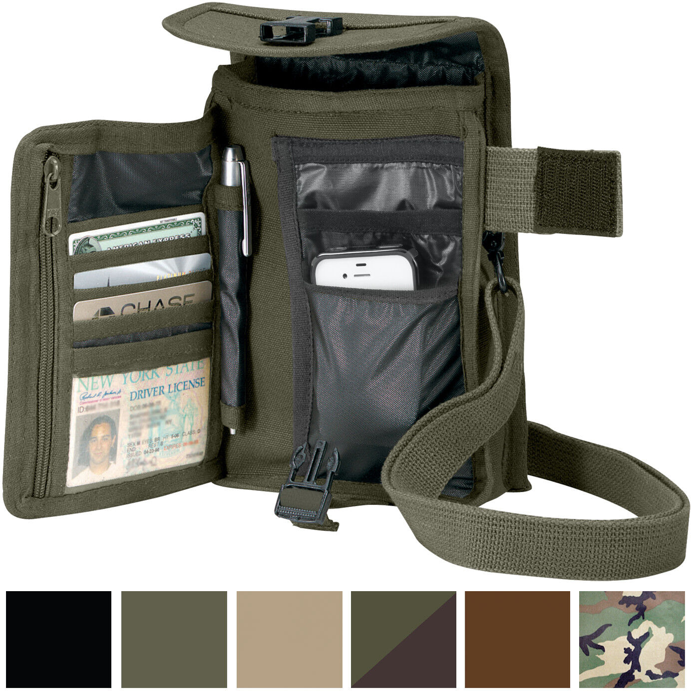 Купить Rothco - Travel Organizer Pouch Canvas Passport Holder Wallet Case Portfolio Shoulder Bag