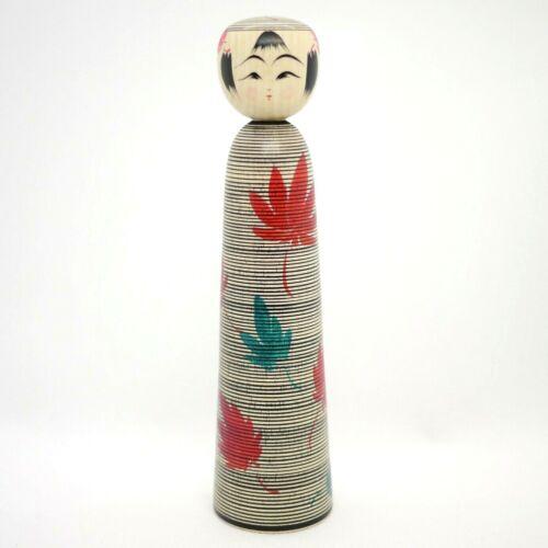 19cm Japanese Dento Kokeshi Doll Teruyuki Hiraga (1972-) Kaede Maple Autumn