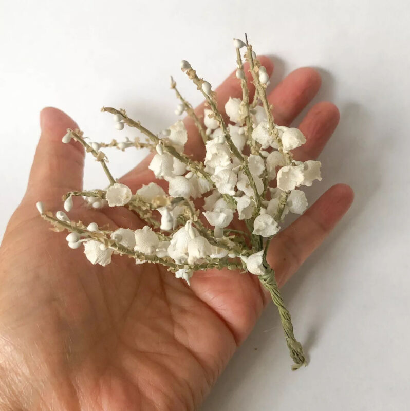 Vtg Lily of the Valley Stem White Millinery Small Bouquet Flower Craft Hat Trim