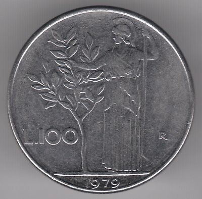 Italy 1979 100 LIre Stainless Steel Coin - Minerva Holding Olive Tree