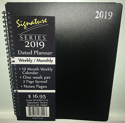 New 2019 Weekly Monthly Planner Signature Series Calendar Black Spiral 8x10