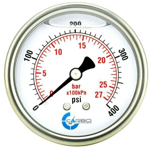 "2-1/2"" Pressure Gauge, ALL STAINLESS STEEL, Liquid Filled, Back Mnt, 400 Psi"