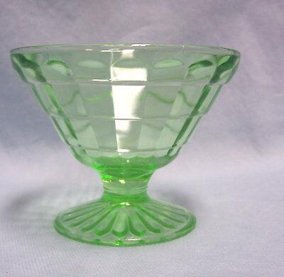 Green Depression Champagne/Sherbet Glass Stemware Anchor Hocking Block Optic