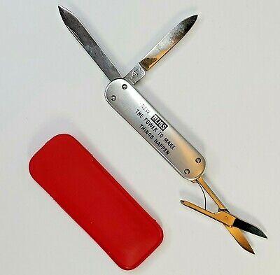 Vtg Victorinox Victoria Crossbow Advertising Pocket Knife 3 Blade Scissors BLISS