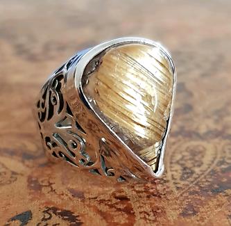 Golden Rutilated Quartz Ring, Medium Size, 925 Silver, Filigree ♡
