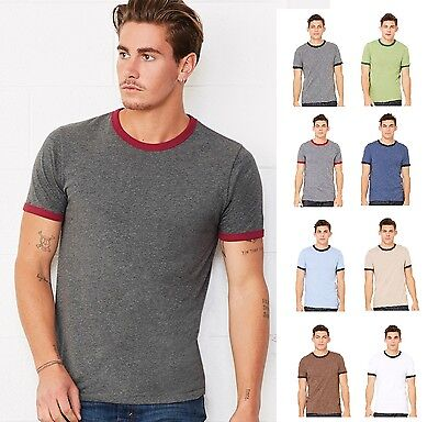 (Bella+Canvas Mens Heather Ringer Jersey Tee Tshirt T-Shirt-C3055-3055-8 COLORS!)