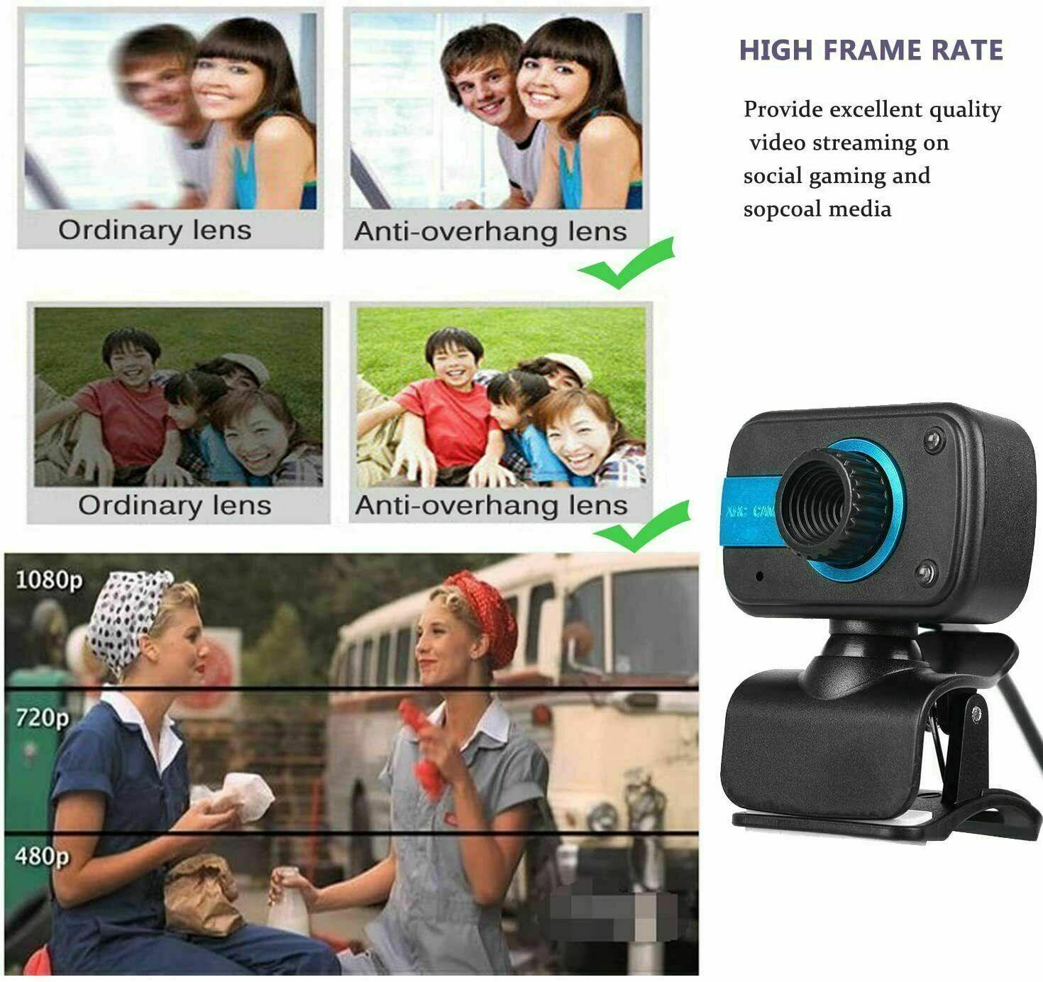 HD Webcam USB Computer Web Camera For PC Laptop Desktop Video Cam W Microphone