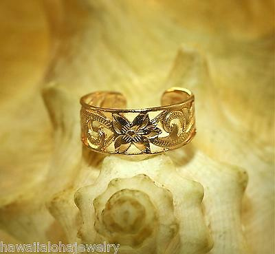 7mm 14k Rose Gold Over STER Silver Hawaiian Pierced Heritage Scrolls Toe Ring #3