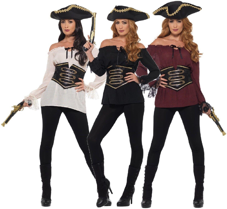 Women/'s Deluxe Fancy Dress Pirate Shirt Hat /& Gun Hen Party Fun Caribbean Theme