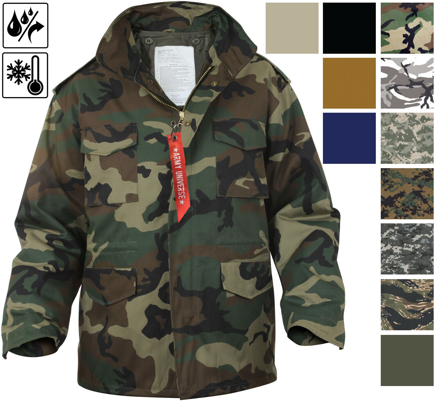 Olive Drab Military Style Rothco Soft Shell Tactical M-65 Field Jacket