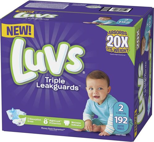 Luvs Triple Leakguards Diapers Size 2 (192 Count)