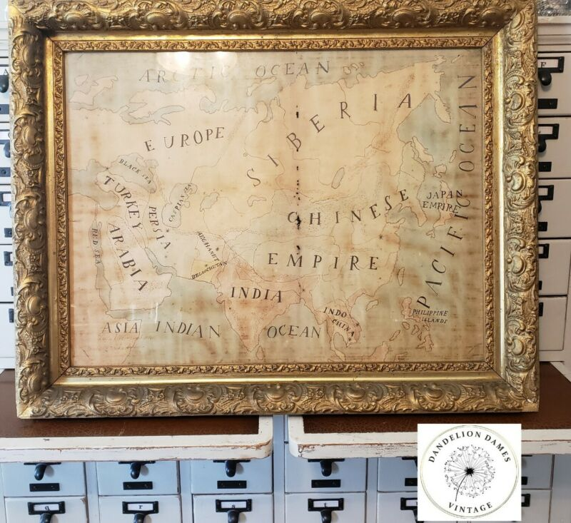 Antique Map 1896 Hand Drawn Map Ornate Wood Gold Gesso Frame Free shipping!