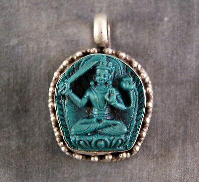 Anhänger Manjushri ~ Türkis Silber (845)