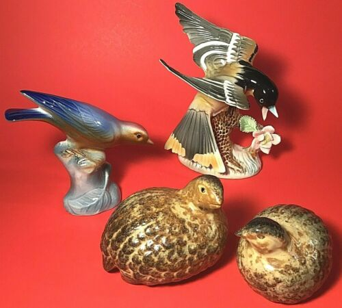 BIRD FIGURINES SET OF 4 HAND DECORATED VINTAGE MULTI COLOR QUAILS WOODLAND