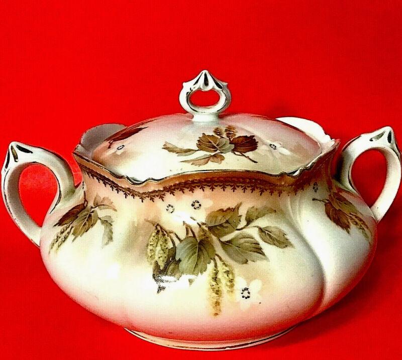 "RS PRUSSIA CRACKER/BISCUIT JAR ANTIQUE 8 3/4"" FLORAL GOLD GREEN LEAVES"