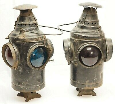 SET OF TWO DRESSEL ARLINGTON NJ Train Railroad Lamp Lanterns FREE SHIPPING