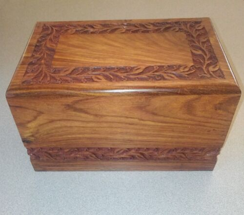 India Rosewood Engraved Cremation Urn - XL