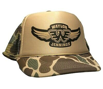 Vintage Waylon Jennings Hat Trucker Mesh cap 80s Snap Back Country Music Legend