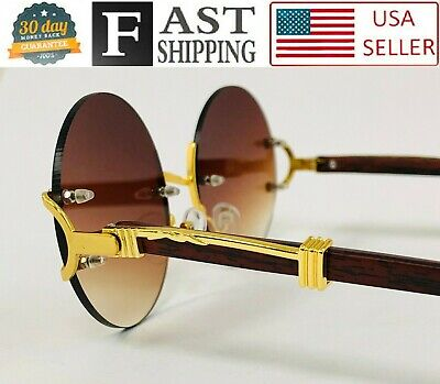 Men's Sunglasses Fashion Gold Metal Brown Wood Migos Buffs Rap Hip-hop Round (Metal Rounds)