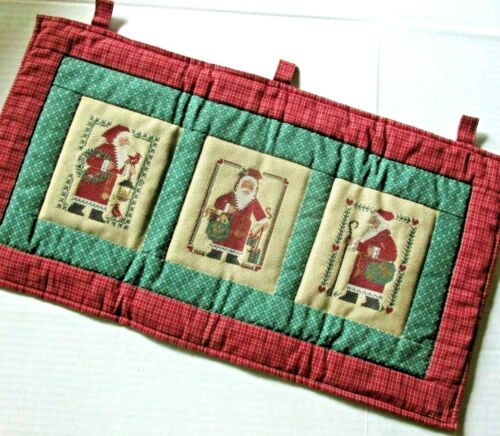 Prairie Schooler Cross Stitch Christmas Wall Hanging Handmade Quilted Complete