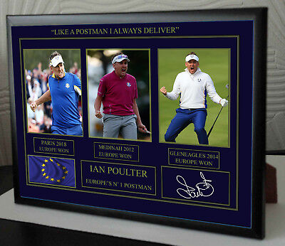 IAN POULTER RYDER CUP EUROPE 2018 Golf Framed Tribute Print Signed, used for sale  Shipping to United States