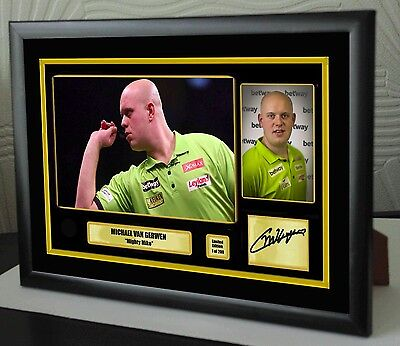 "Michael Van Gerwen ""Mighty Mike"" Darts Framed Canvas Print Signed ""Great Gift"""