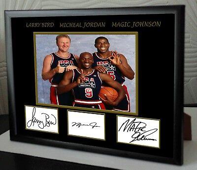 Michael Jordan Larry Bird Magic Johnson signed NBA USA Olympic Framed.