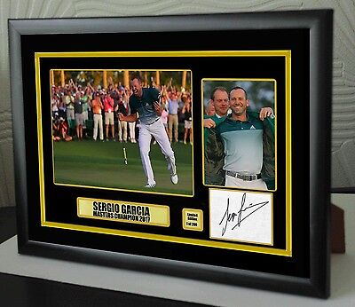 "Sergio Garcia Masters 2017 Golf Framed Canvas Tribute Signed ""Great Gift"""