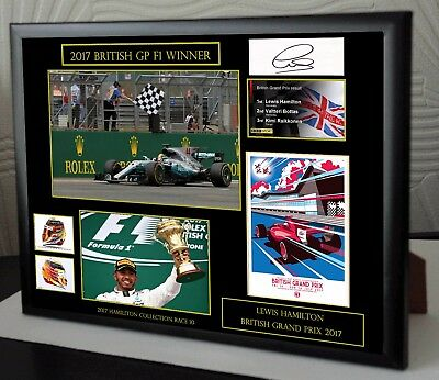 "Lewis Hamilton F1 Mercedes 2017 Framed Canvas Print Signed ""Great Gift/Souvenir"""
