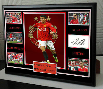 CRISTIANO RONALDO  MAN UTD Framed A4 Canvas Tribute Print  Signed