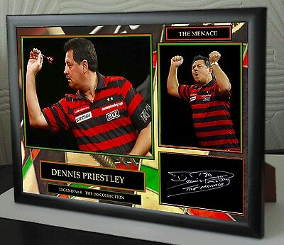 "Dennis Priestley Darts Framed Canvas Print Signed ""Great Gift"""