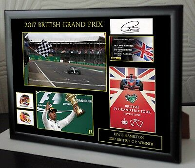 "Lewis Hamilton F1 Silverstone 2017 Framed Canvas  Signed ""Great Gift/Souvenir"""