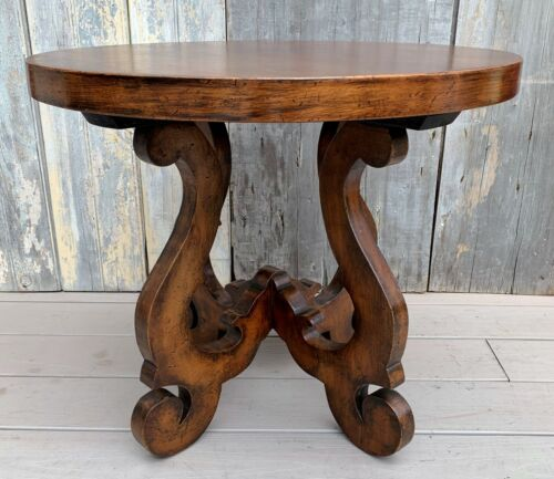 Vintage Baker Furniture French Style Scroll Base Walnut Round Coffee Table