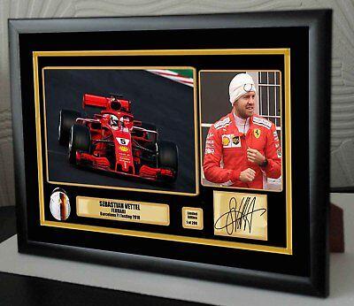 """Seb Vettel F1 Ferrari 2018 Barcelona Testing Framed Canvas Print Signed """"Gift"""""""