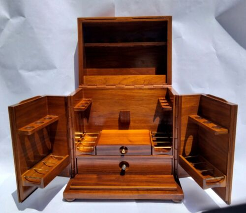 """Alfred Dunhill Walnut Pipe Tobacco with Burlwood Humidor 13.5"""" H"""