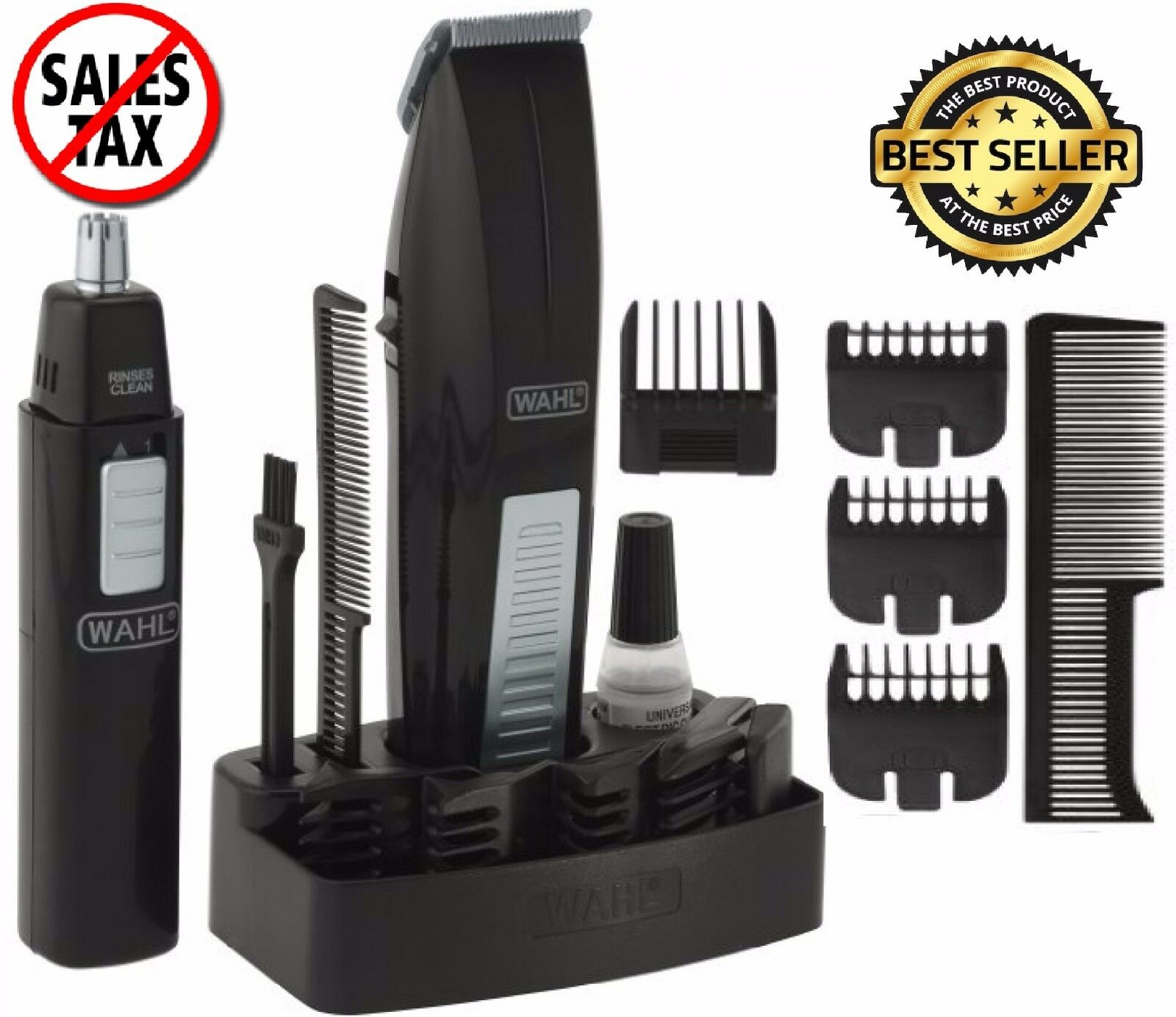 wahl mustache and beard trimmer set hair cut clipper kit ear nose groomer shaver ebay. Black Bedroom Furniture Sets. Home Design Ideas