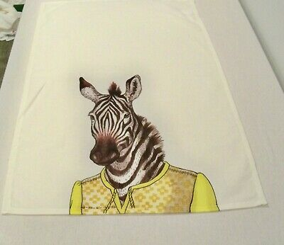 West Elm Dapper Animals Zebra In Yellow Dress Tea Towel NWT by Rachel Koslowski