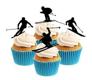 Novelty Skier Silhouette Mix 12 Edible Stand Up wafer paper cake toppers skiing