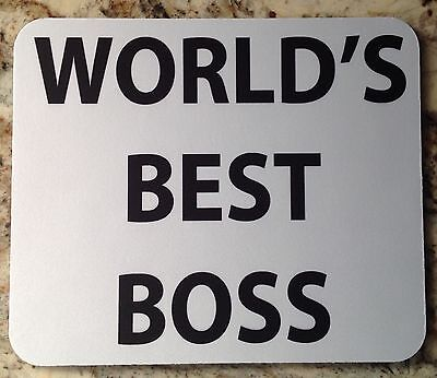 Mouse Pad Custom Printed World's Best Boss Logo Advertisement Tick