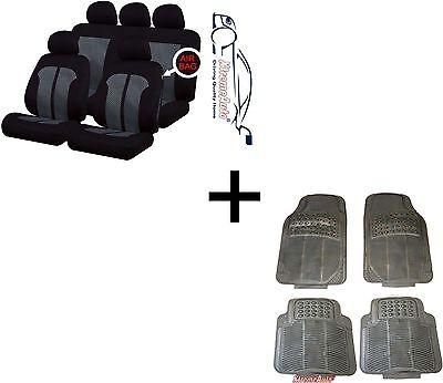 KNIGHTSBRIDGE STYLISH UNIVERSAL CAR SEAT COVERS PROTECTORS MATCHING RUBBER MATS