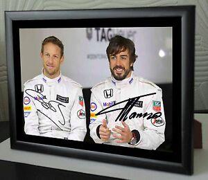 Jenson Button & Fernando Alonso F1 World Champion  Framed Canvas Print Signed.