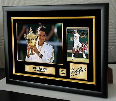 "Roger Federer Limited Edition Framed Canvas Tribute Print Signed ""Great Gift"""