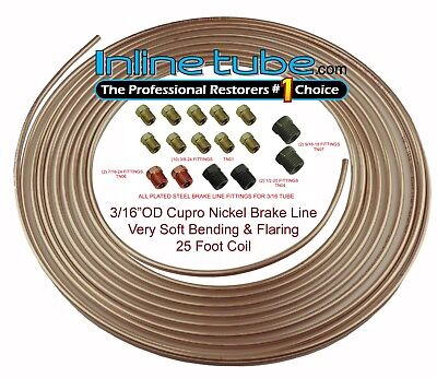 Copper Nickel Brake Line Tubing Kit 3/16 OD 25 Foot Coil Roll all Size Fittings All Brake System