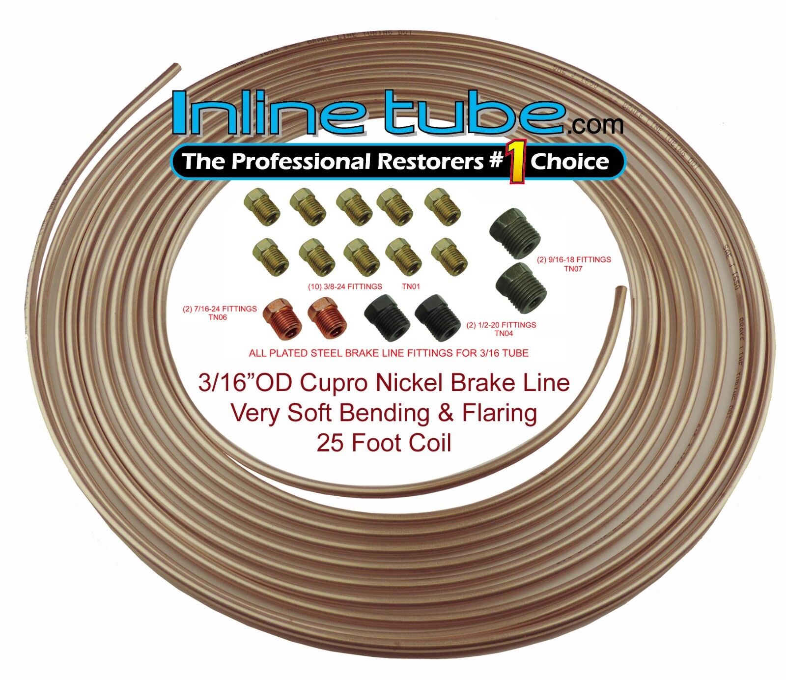 "x 25 FT x2 Copper  Brake Line Tubing Kit 3//16/"" O.D /& 1//4 O.D"