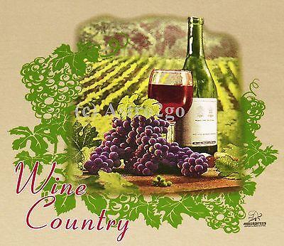 WINE COUNTRY--Vineyard Napa Sonoma Bordeaux Merlot Cabernet Grapes T shirt S-XL ()